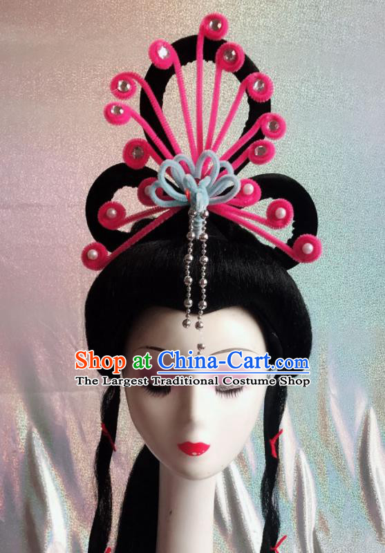 Chinese Traditional Beijing Opera Peri Rosy Phoenix Hairpins Peking Opera Diva Hair Accessories for Women