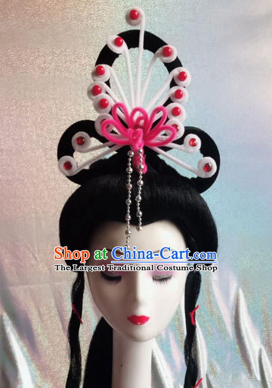 Chinese Traditional Beijing Opera Peri White Phoenix Hairpins Peking Opera Diva Hair Accessories for Women