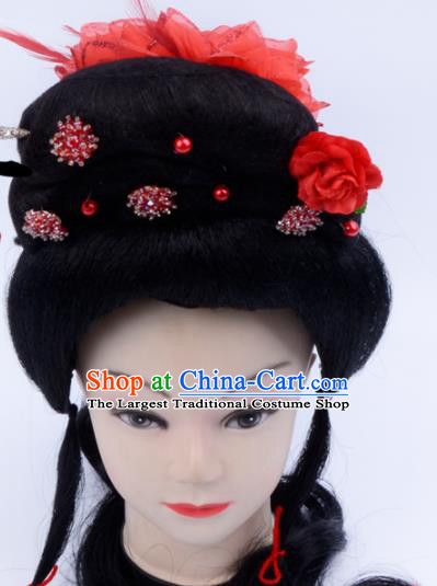 Chinese Traditional Beijing Opera Wig Sheath and Red Flower Hairpins Peking Opera Peri Hair Accessories for Women