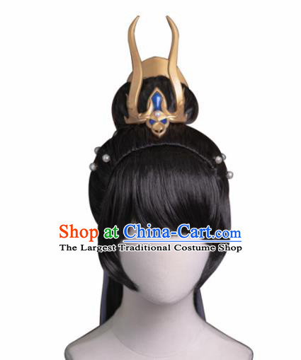Chinese Traditional Cosplay Female Knight Wigs Ancient Swordswoman Wig Sheath and Hairpins Hair Accessories for Women