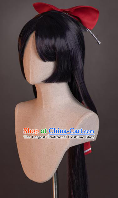 Chinese Traditional Cosplay Heroine Wigs Ancient Swordswoman Wig Sheath and Hairpins Hair Accessories for Women