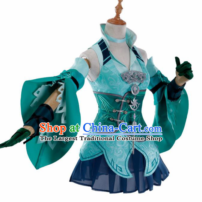 Traditional Halloween Cosplay Swordswoman Costume Chinese Ancient Heroine Green Hanfu Dress for Women