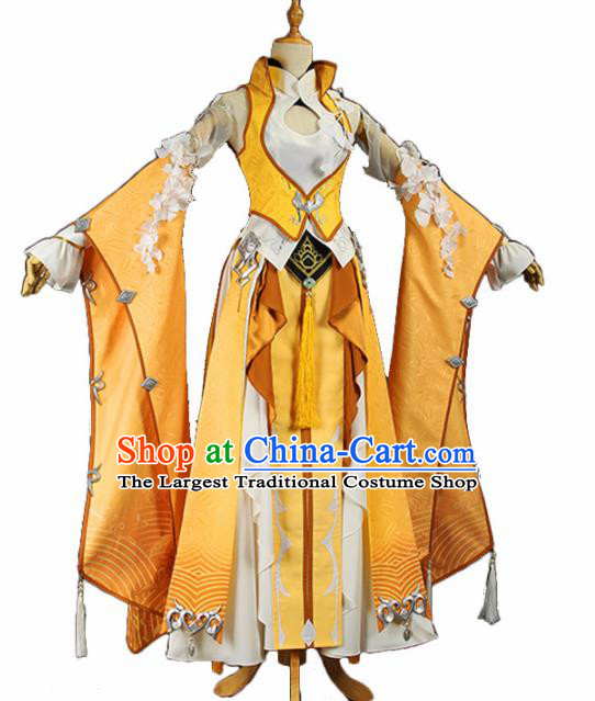 Chinese Traditional Cosplay Princess Costume Ancient Tang Dynasty Swordswoman Yellow Hanfu Dress for Women