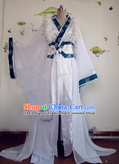 Chinese Traditional Cosplay Prince Costume Ancient Swordsman White Hanfu Clothing for Men