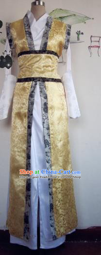Chinese Traditional Cosplay Nobility Childe Costume Ancient Swordsman Golden Hanfu Clothing for Men