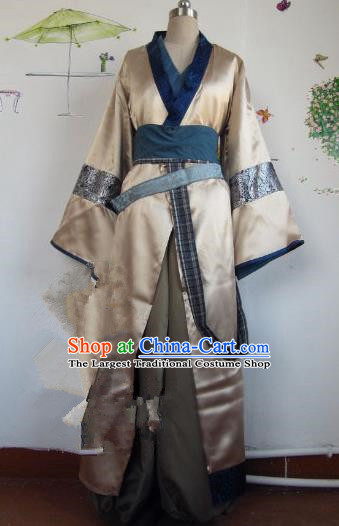 Chinese Traditional Cosplay Qin Dynasty Knight Golden Costume Ancient Swordsman Hanfu Clothing for Men