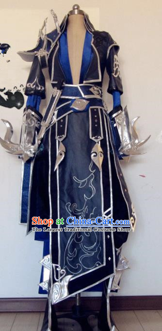 Chinese Traditional Cosplay Female General Navy Costume Ancient Swordswoman Hanfu Dress for Women