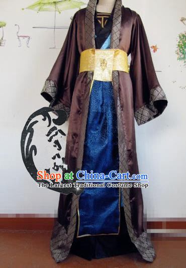 Chinese Traditional Cosplay Nobility Childe Brown Costume Ancient Swordsman Hanfu Clothing for Men