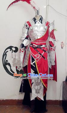 Chinese Traditional Cosplay General Armour Costume Ancient Swordsman Hanfu Clothing for Men