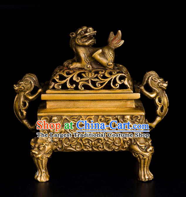 Chinese Traditional Feng Shui Items Bagua Censer Decoration Taoism Brass Incense Burner