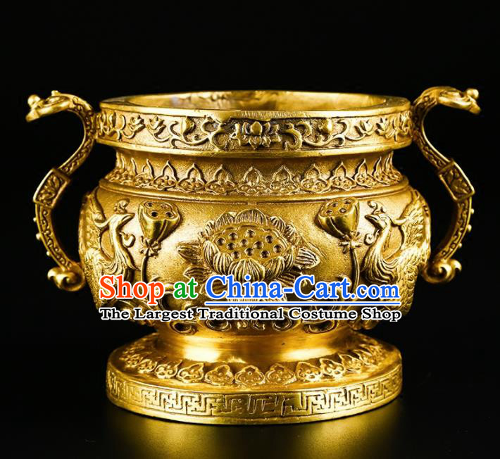 Chinese Traditional Carving Lotus Crane Brass Incense Burner Taoism Bagua Feng Shui Items Censer Decoration