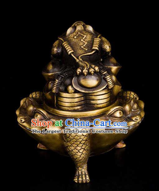 Chinese Traditional Taoism Brass Toad Incense Burner Feng Shui Items Bagua Censer Decoration