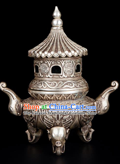 Chinese Traditional Taoism Bagua Carving Elephant Cupronickel Incense Burner Feng Shui Items Brass Censer Decoration