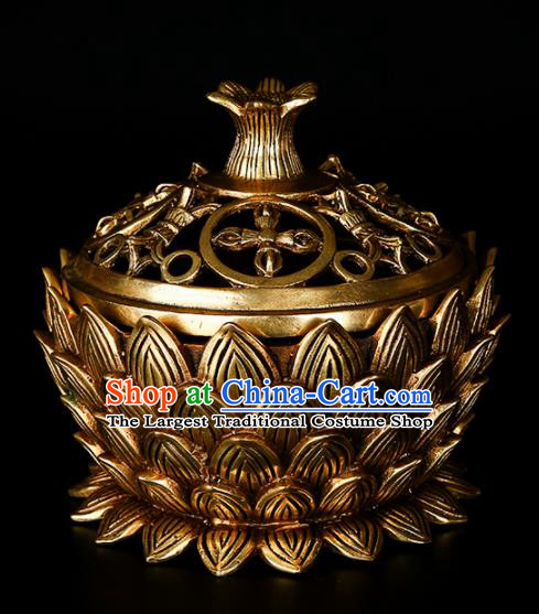 Chinese Traditional Taoism Bagua Brass Lotus Incense Burner Feng Shui Items Censer Decoration