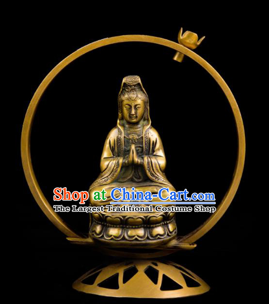 Chinese Traditional Taoism Bagua Brass Bodhisattva Incense Burner Feng Shui Items Censer Decoration