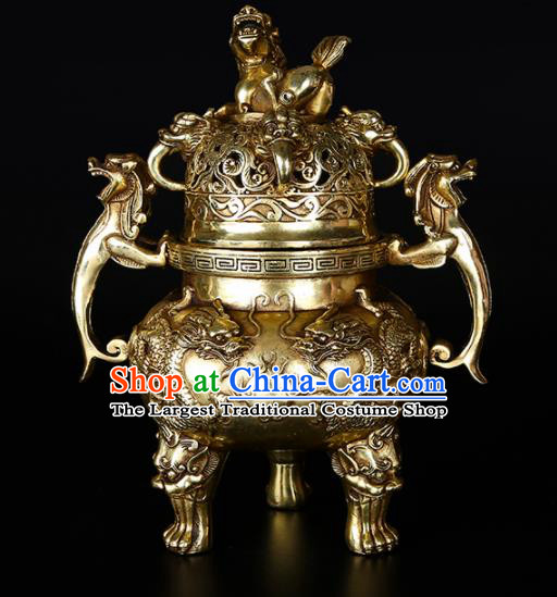 Chinese Traditional Taoism Bagua Brass Kylin Incense Burner Feng Shui Items Censer Decoration