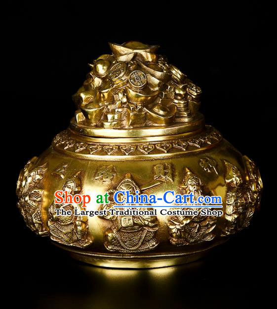 Chinese Traditional Taoism Bagua Brass Treasure Bowl Incense Burner Feng Shui Items Censer Decoration