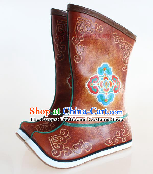 Chinese Traditional Mongol Ethnic Boots Nationality Mongolian Brown Leather Boots for Men