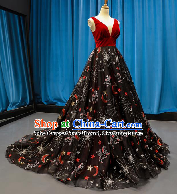 Top Grade Compere Full Dress Princess Black Veil Trailing Wedding Dress Costume for Women
