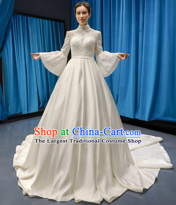 Top Grade Wedding Gown Bride Trailing Full Dress Princess Costume White Lace Dress for Women
