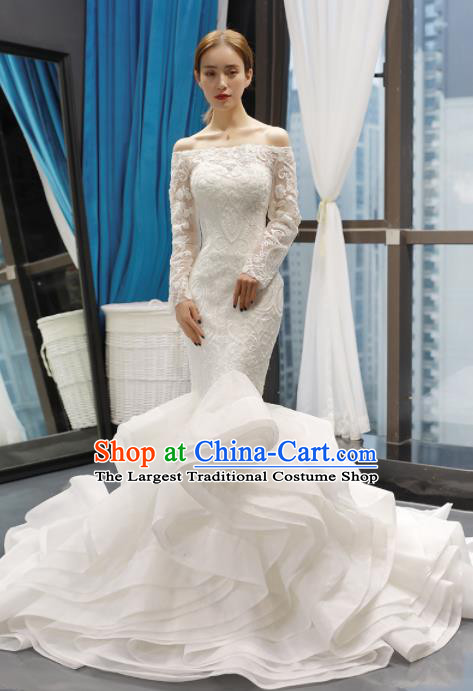 Top Grade Trailing Wedding Gown Bride Costume White Veil Full Dress Princess Dress for Women