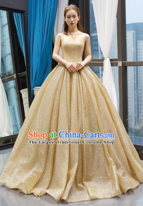 Top Grade Compere Golden Bubble Full Dress Princess Trailing Wedding Dress Costume for Women