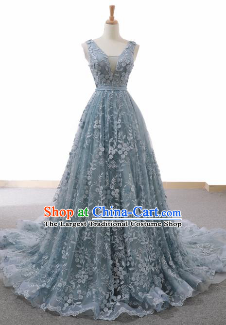 Top Grade Compere Blue Veil Trailing Full Dress Princess Wedding Dress Costume for Women