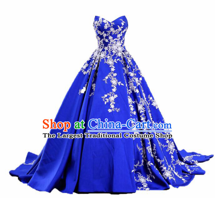 Top Grade Compere Royalblue Trailing Full Dress Princess Embroidered Wedding Dress Costume for Women