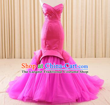 Top Grade Compere Rosy Veil Fishtail Trailing Full Dress Princess Embroidered Wedding Dress Costume for Women