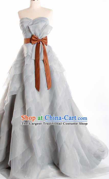 Top Grade Compere Grey Veil Full Dress Princess Trailing Wedding Dress Costume for Women