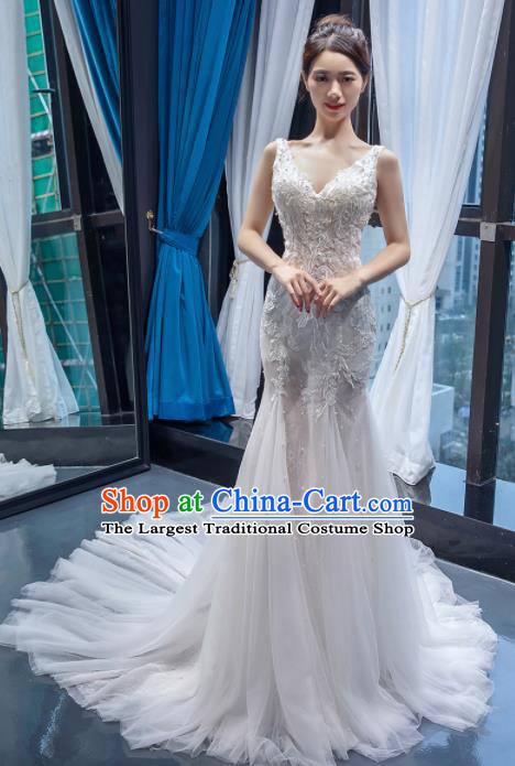 Top Grade Wedding Gown Bride Costume White Veil Trailing Full Dress Princess Dress for Women