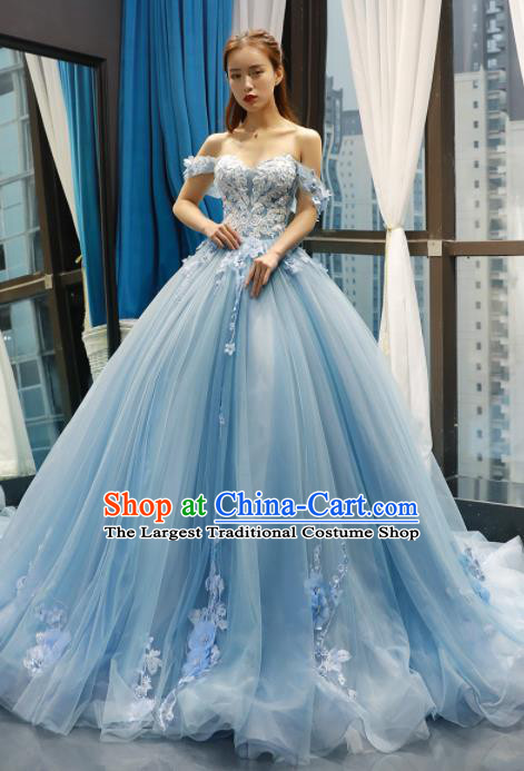 Top Grade Compere Blue Veil Full Dress Princess Trailing Wedding Dress Costume for Women