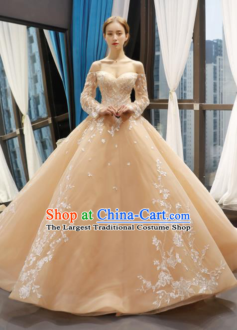 Top Grade Compere Champagne Bubble Full Dress Princess Trailing Wedding Dress Costume for Women
