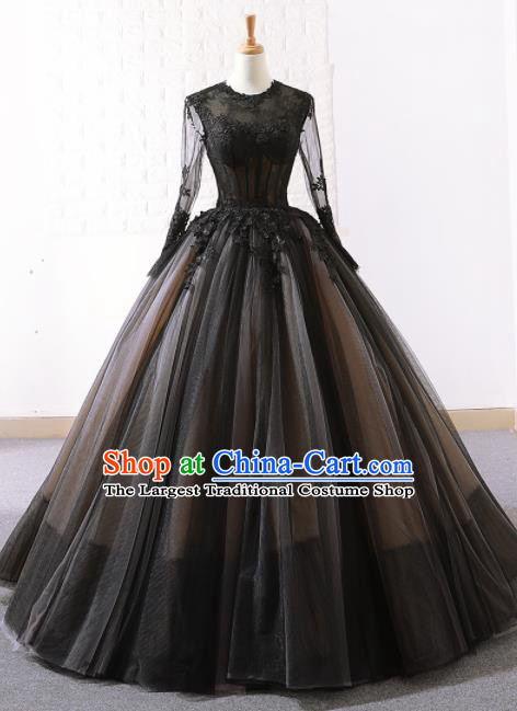 Top Grade Compere Embroidered Black Veil Full Dress Princess Trailing Wedding Dress Costume for Women