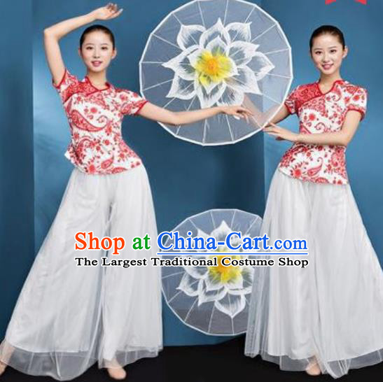 Chinese National Folk Dance Printing Costume Traditional Yangko Dance Fan Dance Clothing for Women