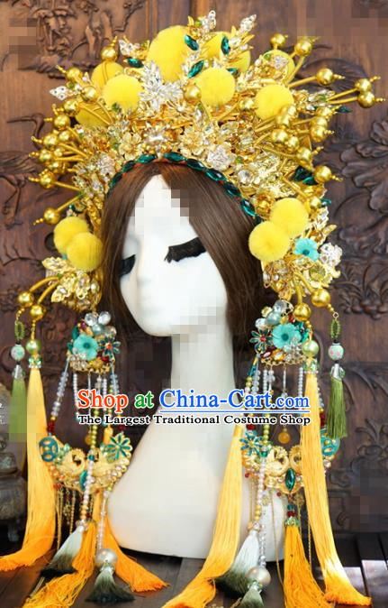 Chinese Traditional Handmade Hair Accessories Ancient Queen Luxury Yellow Venonat Phoenix Coronet Headwear for Women