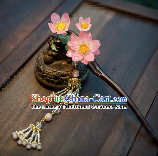 Chinese Traditional Hair Accessories Ancient Bride Lotus Wood Hairpins Handmade Tassel Step Shake Headwear for Women