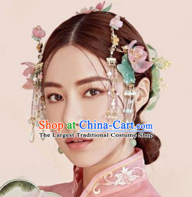 Chinese Traditional Palace Queen Hair Accessories Ancient Bride Pink Lotus Hairpins Headwear for Women