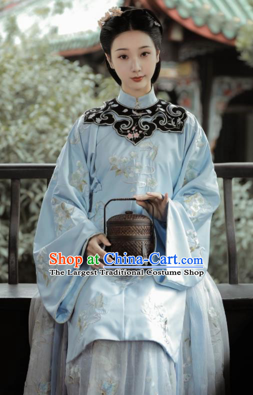 Chinese Traditional Ming Dynasty Young Mistress Hanfu Dress Ancient Palace Princess Embroidered Historical Costume for Women