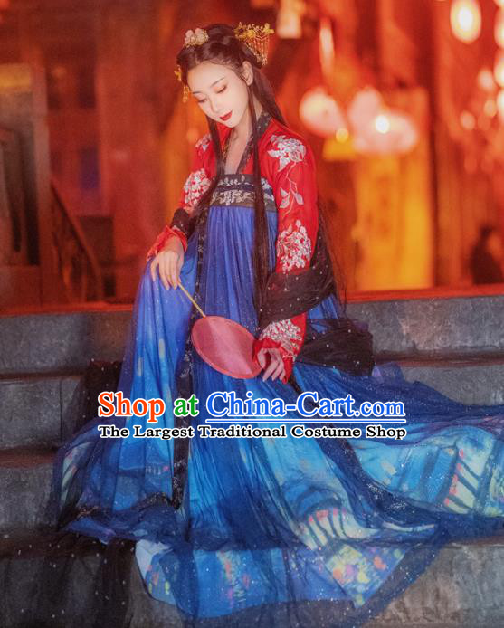 Chinese Traditional Tang Dynasty Historical Hanfu Dress Ancient Palace Princess Embroidered Costume for Women