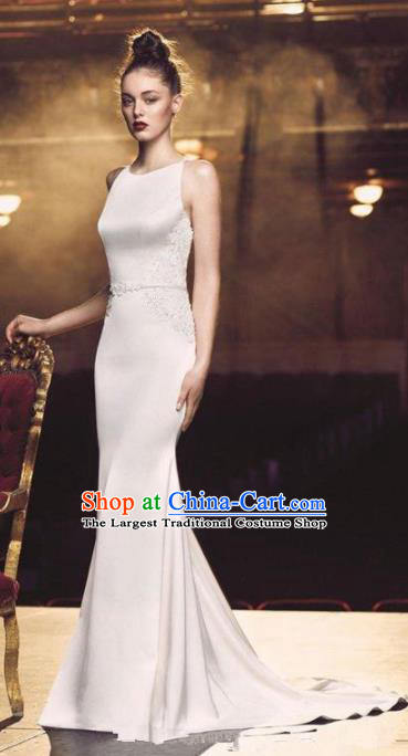 Professional Compere White Trailing Full Dress Modern Dance Princess Wedding Dress for Women