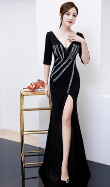 Top Grade Black Trailing Full Dress Compere Modern Fancywork Costume Princess Wedding Dress for Women