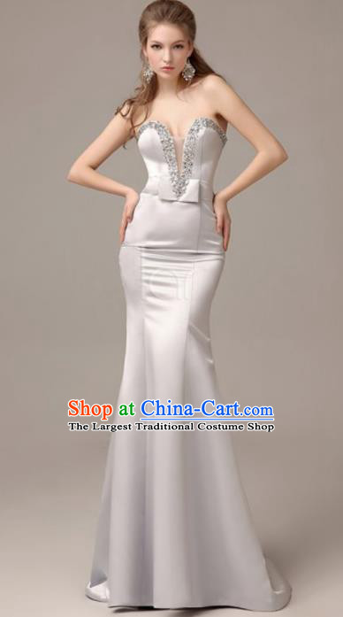 Professional Beige Satin Trailing Wedding Dress Princess Full Dress Modern Dance Costume for Women