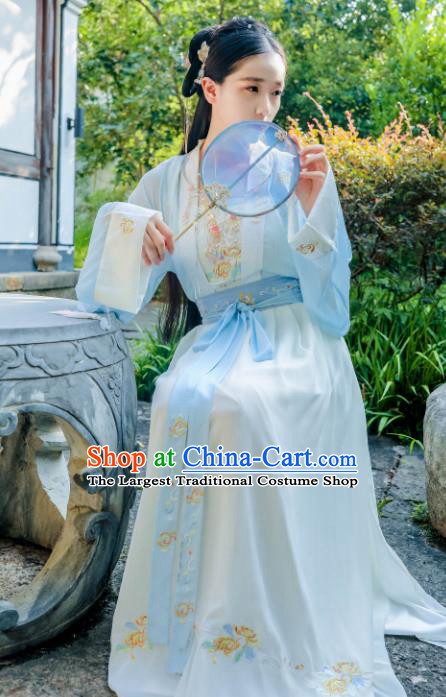 Chinese Ancient Hanfu Dress Tang Dynasty Court Lady Embroidered Historical Costume for Women