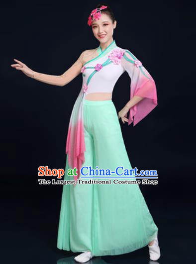 Traditional Chinese Folk Dance Green Veil Clothing Yangko Dance Fan Dance Costume for Women