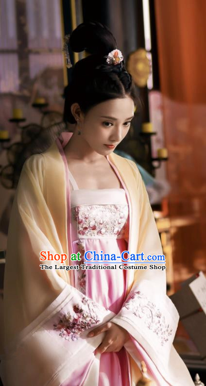 Chinese Ancient Drama Tang Dynasty Imperial Consort Embroidered Replica Costume and Headpiece for Women