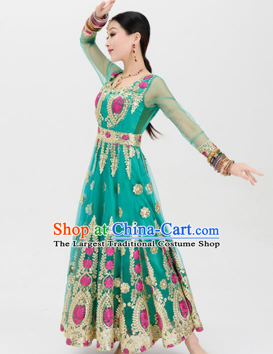 a8459b23bd12 Asian India Traditional Green Sari Bollywood Belly Dance Costumes South  Asia Indian Princess Dress for Women