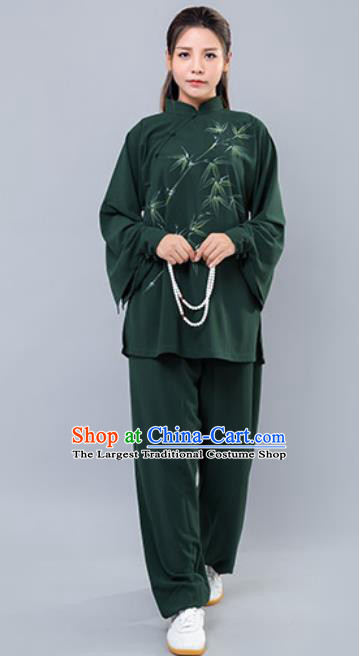 Asian Chinese Martial Arts Traditional Kung Fu Printing Bamboo Green Costume Tai Ji Training Group Competition Uniform for Women