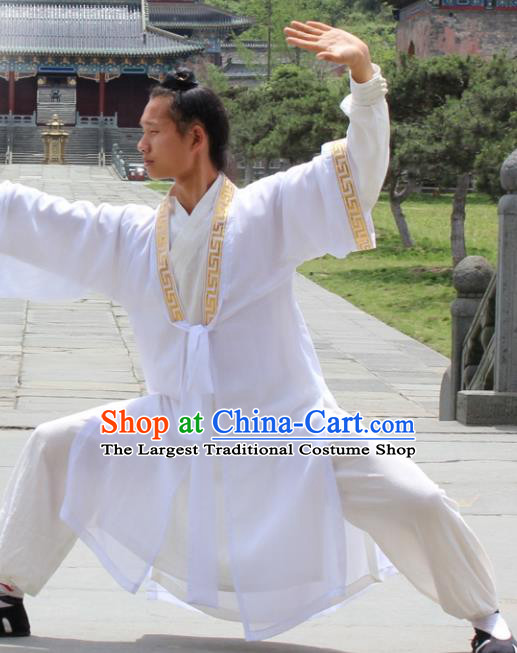 Asian Chinese Traditional Martial Arts Kung Fu Costume Taoist Priest Tai Ji White Robe for Men
