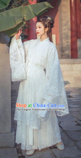 Chinese Ancient Imperial Consort White Hanfu Dress Traditional Jin Dynasty Court Lady Historical Costume for Women